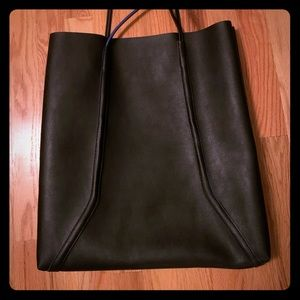 Black leather bag from Bloomingdales. No brand.